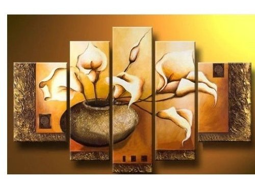 100% Hand-painted Wood Framed Wall Art Weak Yellow Lily Bottle Home Decoration Abstract Floral Oil Painting on Canvas 5pcs/set Mixorde
