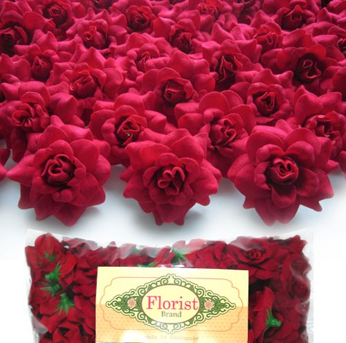 100 silk red roses flower head artificial flowers heads fabric floral supplies. Black Bedroom Furniture Sets. Home Design Ideas