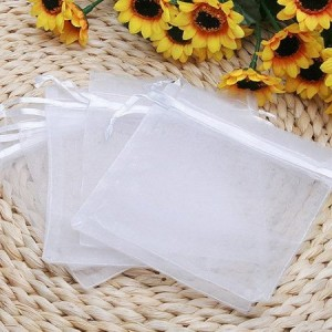 100pcs White Eyelash Organza Drawstring Pouches Jewelry Party Wedding Favor Gift Bags 4″X5″