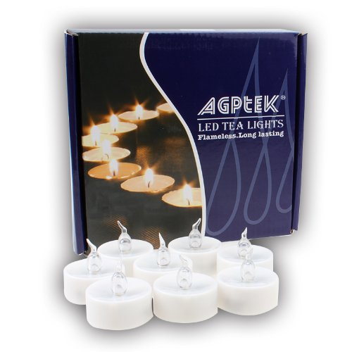 Long Lasting Tealights Agptek100 Battery Operated No Flicker Steady Led Candles Flameless For Wedding Party Cool White