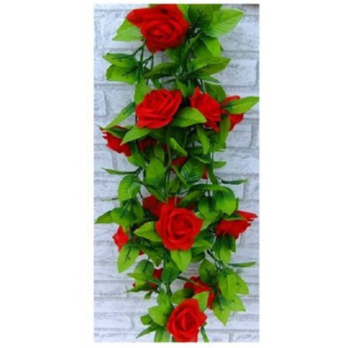 Leegoal Artificial Rose Silk Flower Green Leaf Vine Garland Home Wall Party Decor Wedding Decal (Red)