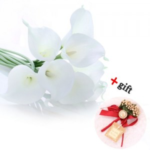 Leegoal Calla Lily Bridal Wedding Bouquet Real Touch PU Flowers (White, Set of 10 Pcs)