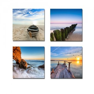 Wieco Art Seaview Modern Seascape Giclee Canvas Prints Artwork Contemporary Landscape Sea Beach Pictures to Photo Paintings on Canvas Wall Art for Home Decorations Wall Decor 4pcs/set