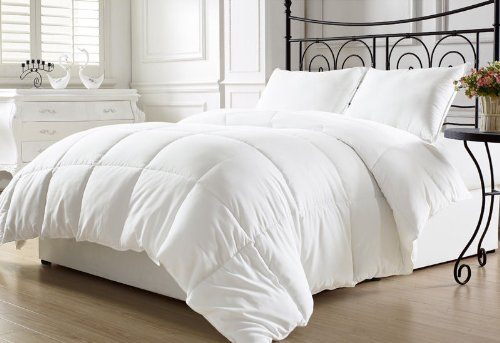 Chezmoi Collection All Season Down Alternative Comforter – Hypoallergenic Plush Microfiber Fill – Box Stitch Quilted – Duvet Insert with Corner Tabs (Full/Queen, White)