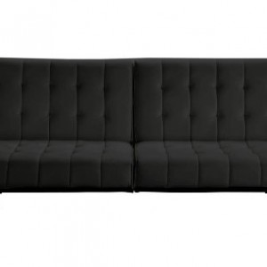 Dhp Emily Futon Sofa Bed Modern Convertible Couch With Chrome Legs Quickly Converts Into A Black Faux Leather