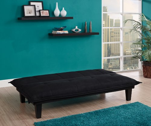 Dhp Lodge Convertible Futon Couch Bed With Microfiber Upholstery And Wood Legs Black