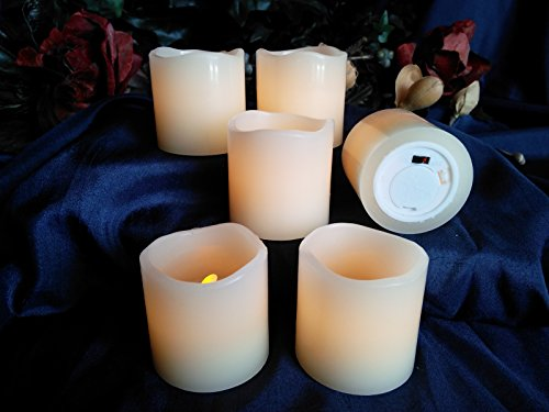 LED Lytes Battery Operated Candles – Set of 6 Ivory Wax Candles 2″ Tall and 2″ Wide with amber yellow Flame