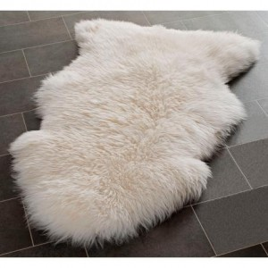 Genuine Bowron Sheepskin Rug Single Pelt Ivory White Fur, Approx. 2ft x 3ft