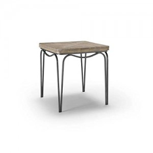 Homeware  Bingham Distressed Wood Accent Table with Aged Silver Finish