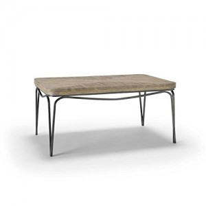 Homeware  Bingham Distressed Wood Coffee Table with Aged Silver Finish