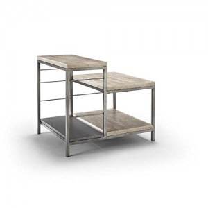 Homeware  Sawyer Travertine Tiered End Table with Aged Silver Finish