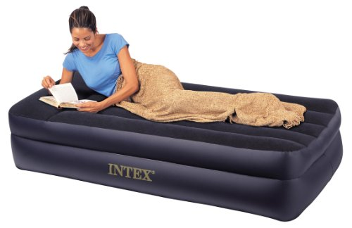 Intex Pillow Rest Raised Airbed with Built-in Pillow and Electric Pump, Twin, Bed Height 16.5″