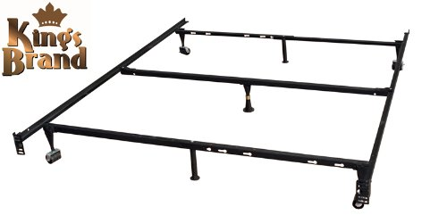 Kings Brand Furniture 7-Leg Adjustable Metal Bed Frame with Center Support Rug Rollers and Locking Wheels for Queen/Full/Full XL/Twin/Twin XL Beds