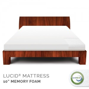 LUCID 10 Inch Gel Memory Foam Mattress – Medium Feel – CertiPUR-US Certified – 10-Year U.S. Warranty – Queen