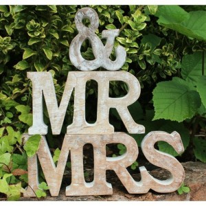 Lindsay Interiors Mr & Mrs Wood Letters, freestanding. Whitewashed, Wedding Decoration, Prop or Gift