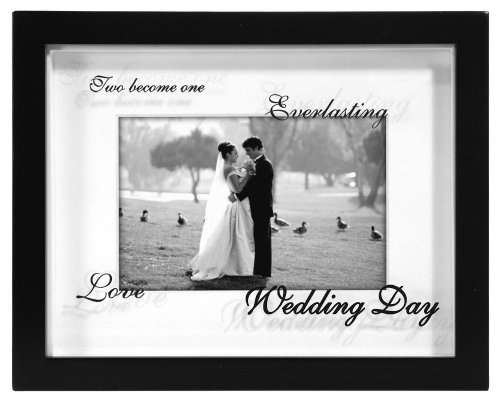Malden International Designs Wedding Shadow Box Reflections Picture Frame, 4×6, Black