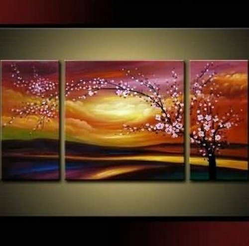 Santin Art – Plum Tree Blossom 100% Hand Painted Abstract Wall Art Sets Painting for Home Decoration Oil Painting. 3 Piece Frame Art
