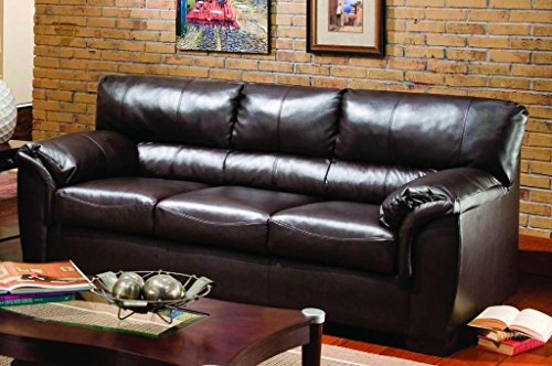 Simmons Upholstery 1797 03 London Walnut Bonded Leather Sofa