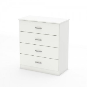 South Shore Libra Collection 4-Drawer Dresser, Pure White with Metal Handles in Pewter Finish