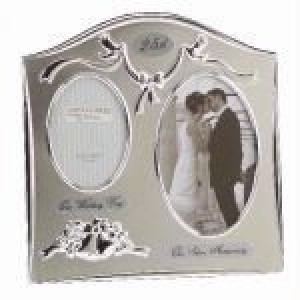 "Two Tone Silverplated Wedding Anniversary Gift Photo Frame – ""25th Silver"