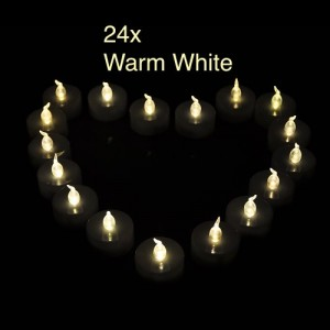 LED Flameless Tealights Candles Tea Light Warm White with Automatic Timing Flickering for Wedding Party Holiday Decoration (24pcs Drop Tear Style)