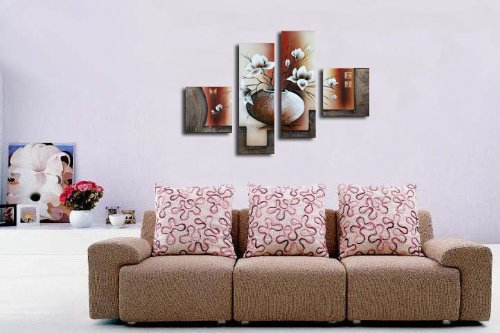 Wieco Art 4-Piece Elegant Flowers Stretched and Framed Hand-Painted ...