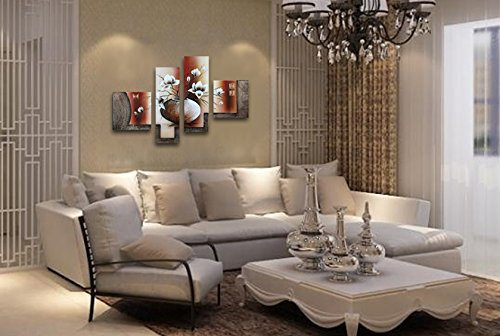 wieco art 4 piece elegant flowers stretched and framed hand painted modern canvas wall art. Black Bedroom Furniture Sets. Home Design Ideas