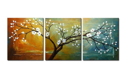 "Wieco Art ""Full Blossom Modern 3 Panels Stretched and Framed Flowers Artwork 100% Hand Painted Floral Oil Paintings on Canvas Wall Art Ready to Hang for Bedroom Kitchen Home Decoraitons"