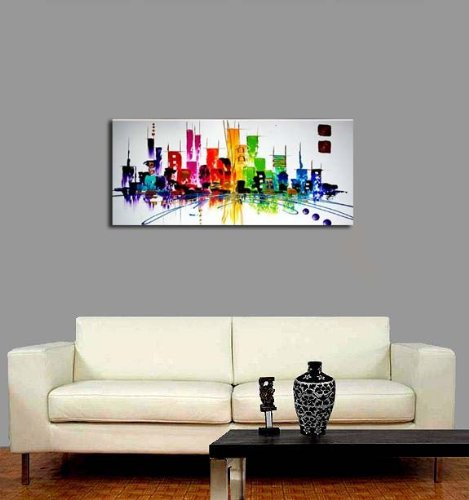Wieco art cityscape extra large colorful city 100 hand painted modern gallery wrapped - Wall paintings for home decoration ...