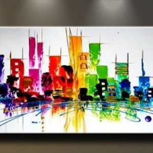 Wieco Art - Cityscape Extra Large Colorful City 100% Hand Painted ...