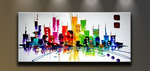 Wieco Art Cityscape Extra Large Colorful City 100% Hand Painted Modern Gallery Wrapped Abstract Landscape Oil Paintings on Canvas Wall Art Ready to Hang for Living Room Bedroom Home Decorations