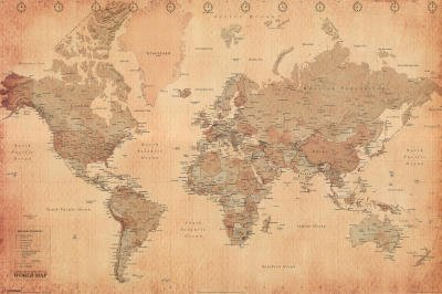 Pyramid World Map Vintage Style Poster Print