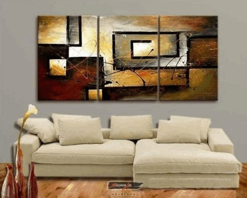 Zartsy 100% Hand Painted Abstract Landscape Yellow Color Block Black Line Artwork Home Wall Decor Art Oil Paintings on Canvas with Stretched Wood Frame Large Oversized