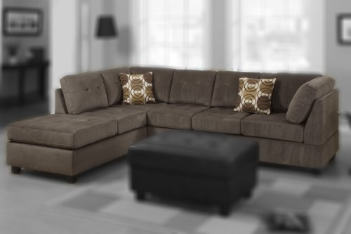 2 pc Ash Microfiber sectional sofa with reversible chaise and tufted cushions