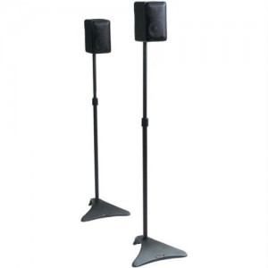 Atlantic Adjustable Height Speaker Stands – Set of 2 Holds Satellite Speakers, Adjustable Stand Height from 22″ to 38″, Heavy Duty Powder Coated Aluminum with Wire Management PN77305018 in Black