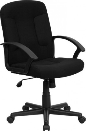 Flash Furniture Mid-Back Black Fabric Executive Swivel Chair with Nylon Arms