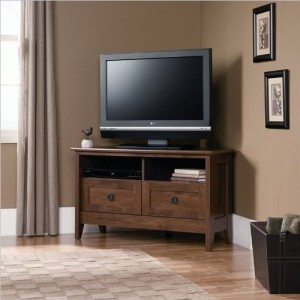 Sauder 410627 August Hill Corner Entertainment Stand, For TVs up to 40″, Oiled Oak finish