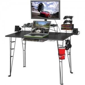 "Atlantic Gaming Desk Multi Function – 32"" TV Stand, Charging Station, Speaker, 5 Game, Controller & Headphone Storage"