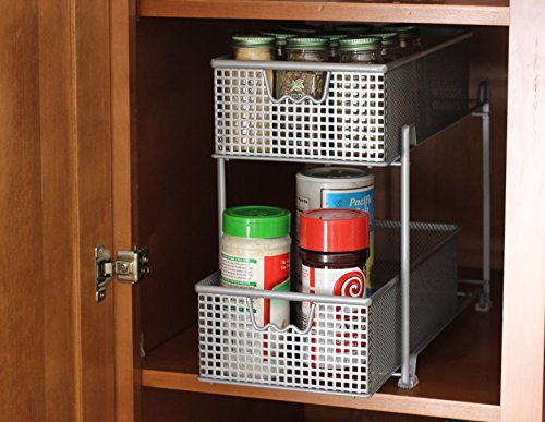 Ordinaire Decobros 2 Tier Mesh Sliding Cabinet Basket