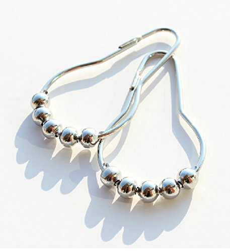 12pcs Curtain Rings Stainless Steel Polished Chrome Roller Shower
