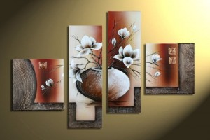 Wieco Art Stretched and Framed 100% Hand-painted Modern Canvas Wall Art Elegant Flowers for Home Decoration Floral Oil Paintings on Canvas 4pcs/set