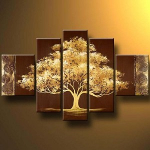 Santin Art-Golden Tree-Modern Canvas Art Wall Decor Landscape Oil Painting Wall Art Wall Decor Home Decorations