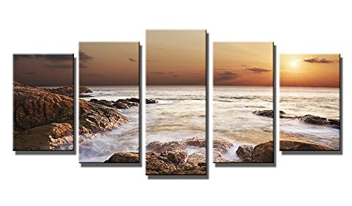 Wieco Art the Rocky Sea - Canvas Print Stretched and Framed Canvas ...