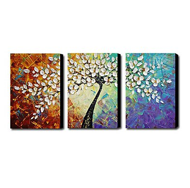 Amoy Art Hand Painted Knife Modern Canvas Wall Fl Oil Painting For Home