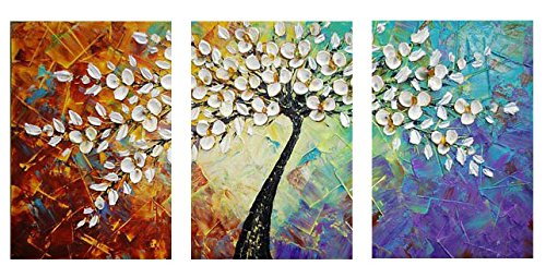 Amoy Art- Hand Painted Knife Modern Canvas Wall Art Floral Oil Painting for Home Decor 12x16inch 3pcs/Set Stretched and Framed Ready to Hang