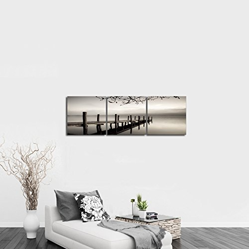 Pyradecor peace 3 panels black and white landscape giclee for Modern black and white wall art