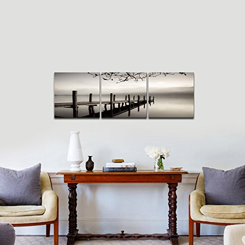 Pyradecor Peace 3 Panels Black and White Landscape Giclee Canvas ...