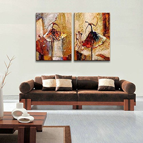Wieco Art Ballet Dancers 2 Piece Modern Decorative Artwork 100 Hand
