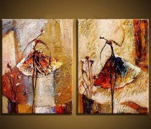 Wieco art ballet dancers 2 piece modern decorative artwork for Paintings for house decoration