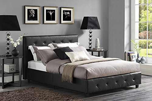 DHP Dakota Upholstered Faux Leather Platform Bed with Wooden Slat Support and Tufted Headboard and Footboard, Queen Size – Black